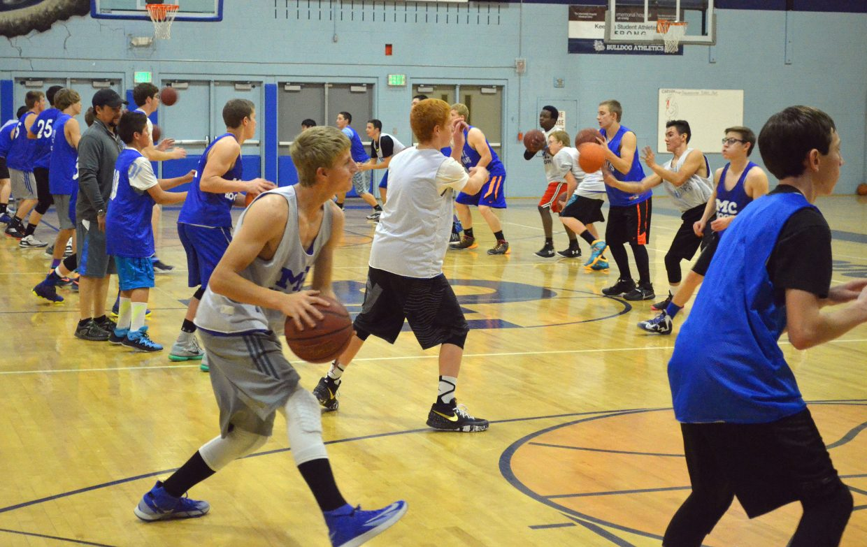 Moffat County High School boys basketball players pass back and forth during a drill in the opening night of practice. The teams will be going strong preparing for the beginning of the season, the Herman Schayes Memorial Tournament hosted Dec. 4 and 5 by Kent Denver in Englewood.