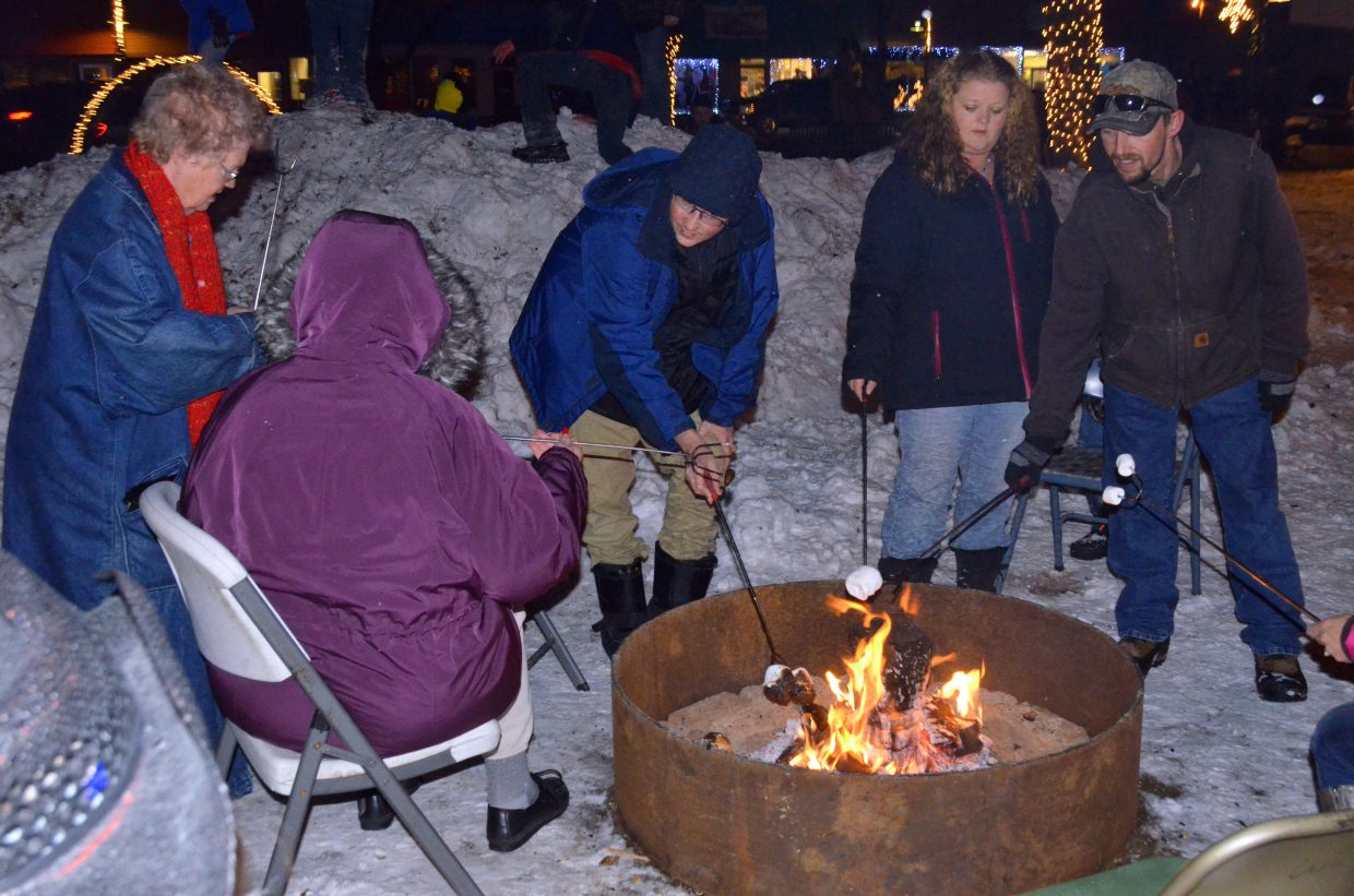 People keep warm and toast marshmallows over an open flame during Down Home Christmas Celebration in Alice Pleasant Park.