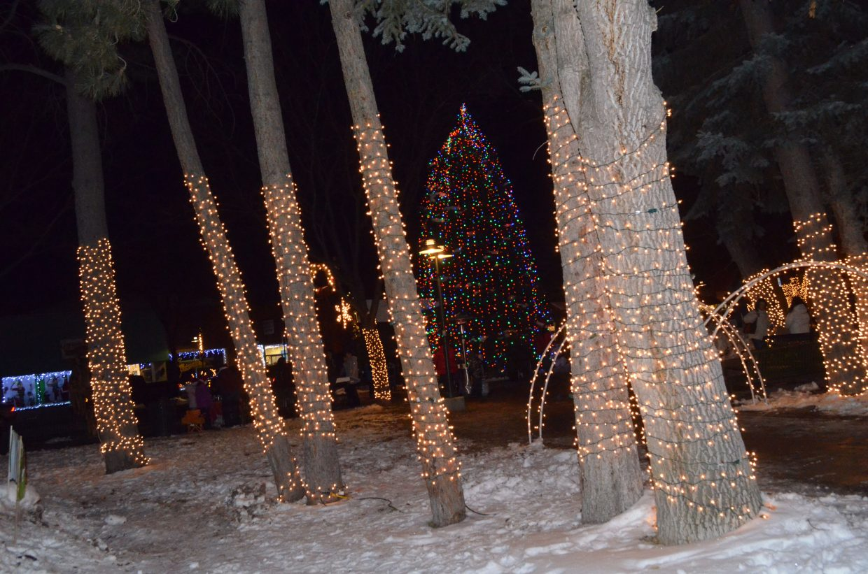 The Down Home Christmas Celebration in Alice Pleasant Park features a lighting display spread across the trees.