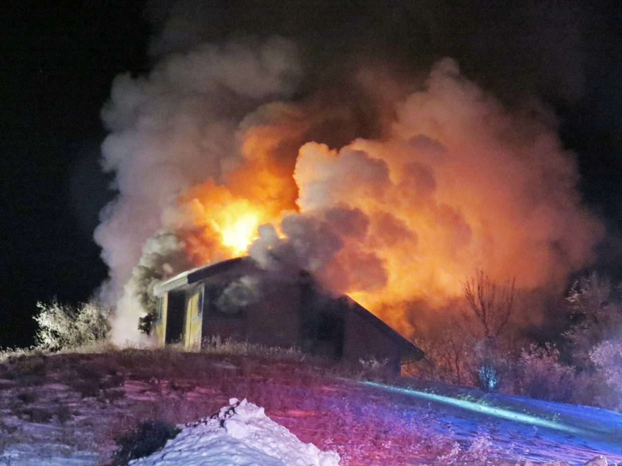 No one was home at 780 Moffat County Road 30 when this blaze broke out Saturday evening.