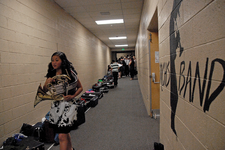 Craig Middle School seventh-grader Sarah Pressley prepares for a concert Thursday at Moffat County High School in honor of the late CMS band teacher Craig Smith.