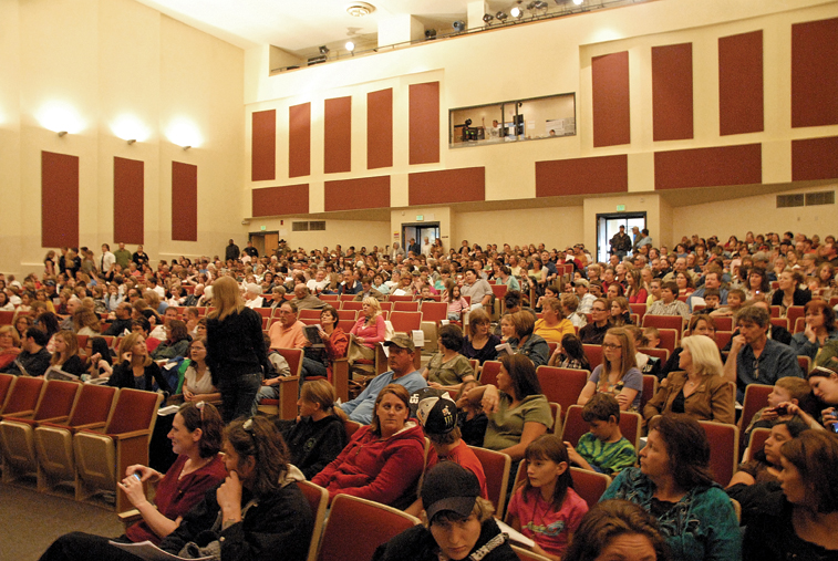 The crowd waits for the performance to begin Thursday at the Moffat County High School auditorium. The Craig Middle School band performed a concert in honor of CMS teacher Craig Smith, who died Sunday.
