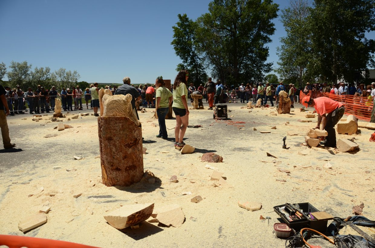 The Quick Carve is a popular event at the Whittle the Wood Rendezvous. Artists have an hour to make a piece of art out of a large branch or tree trunk. This was the scene after time was called in 2013.