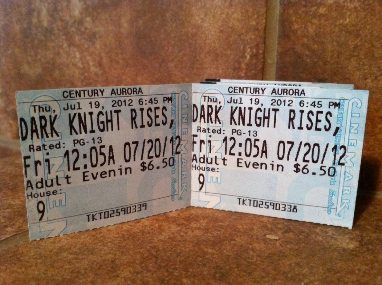 """Ticket stubs purchased by Jacque Archuleta, Alex Espinoza and their friends for the July 20 midnight screening of """"The Dark Knight Rises"""" in Aurora."""