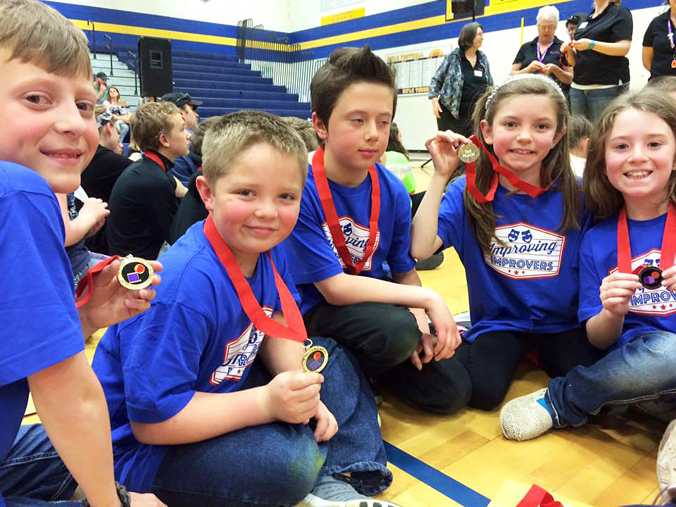 Improving Improvers (also known as Improving Improv) took second place in the Improv Challenge and was invited to participate in the upcoming state tournament. The team includes Carson Laehr, left, Aaron Colby, Grady Wooden, Caitlyn Adams and Hannah Kilpatrick. The team was among three Sunset Elementary School squads to participate in the Destination Imagination Western Slope Tournament.