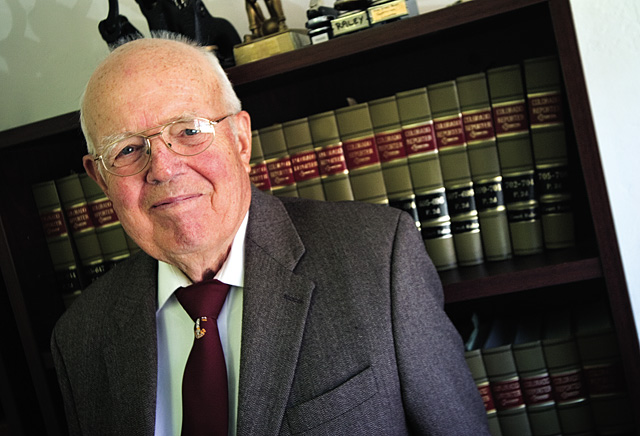 Attorney Frank Cooley, shown here in his law offices in Meeker on June 20, represents a wide spectrum of businesses with interests in the oil shale development market in Northwestern Colorado.