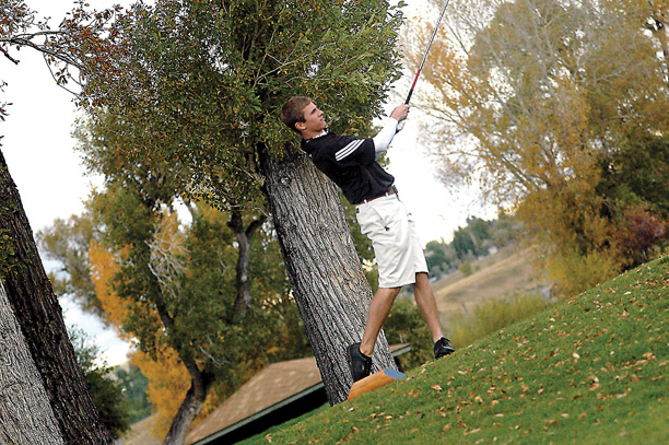 Steamboat Springs' Kaelen Gunderson tees off on hole No. 16 Monday at Yampa Valley Golf Course. Gunderson's round of 74 earned him a tie for sixth-place heading into today's final round.