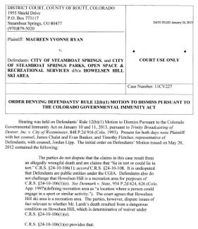 Order denying motion to dismiss in Ryan v. city of Steamboat Springs