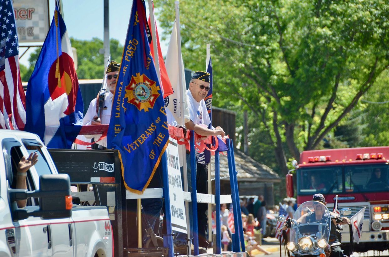 Veterans stand proud during the parade.