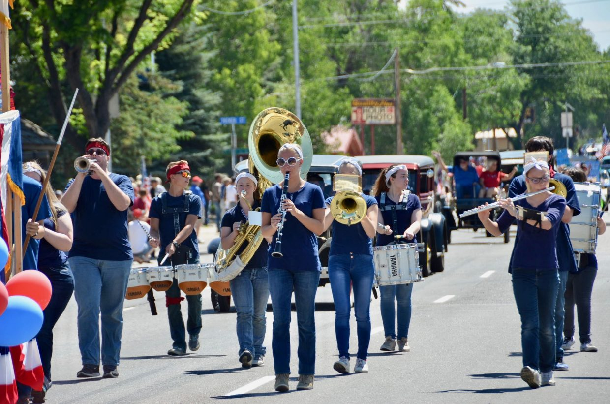 Members of the Moffat County High School marching band provided merriment for the crowd.
