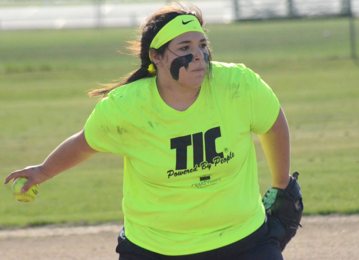 Tessona Gonzalez of TIC gets ready to release while pitching in the tournament for Craig Parks and Recreation softball.