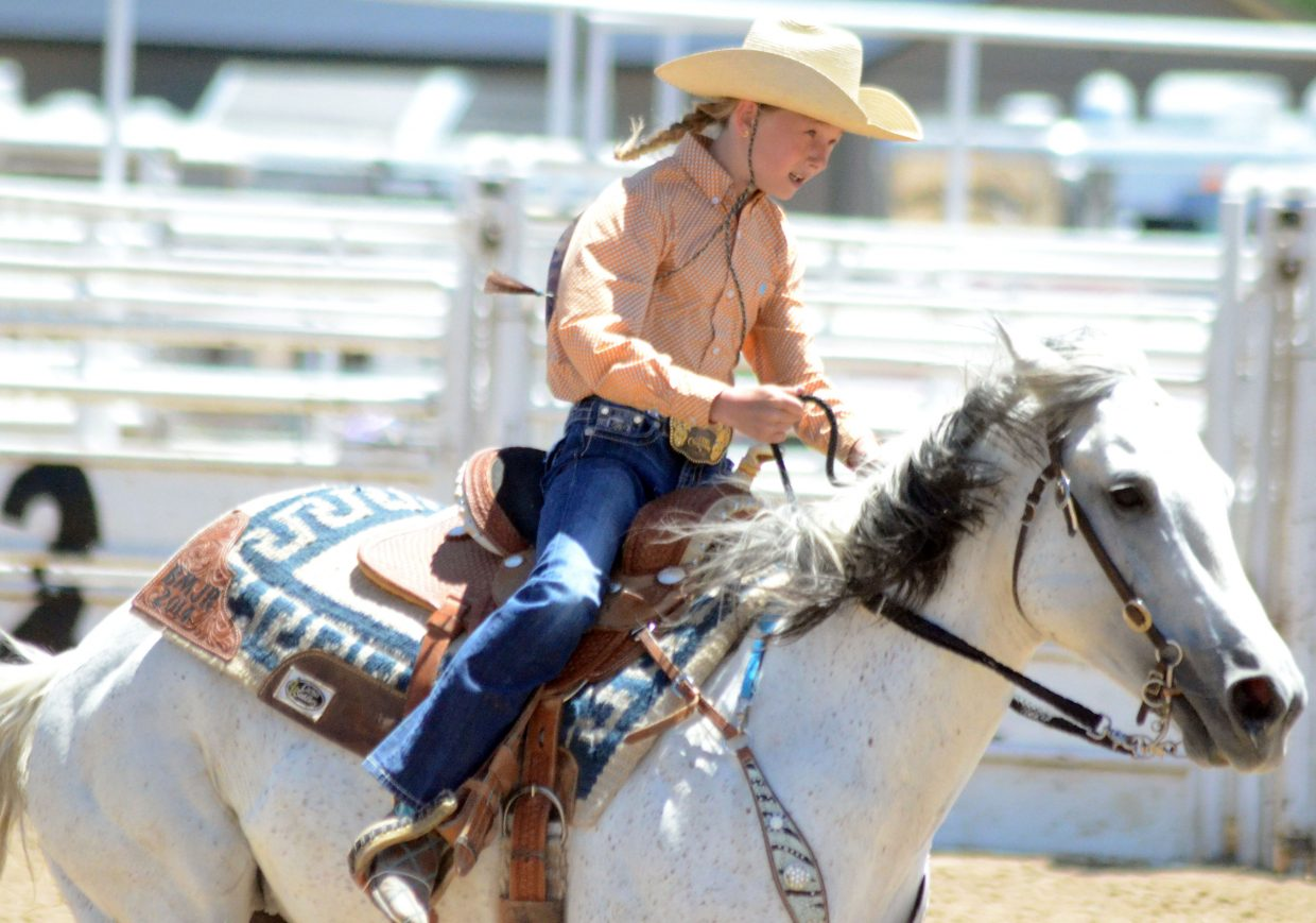 Jolene Rhyne makes her way around the arena during barrel racing as part of June's Little Britches Rodeo at Moffat County Fairgrounds.