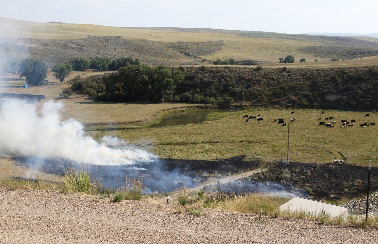Crews responded to a small brush fire at Elkhead Reservoir Wednesday afternoon.