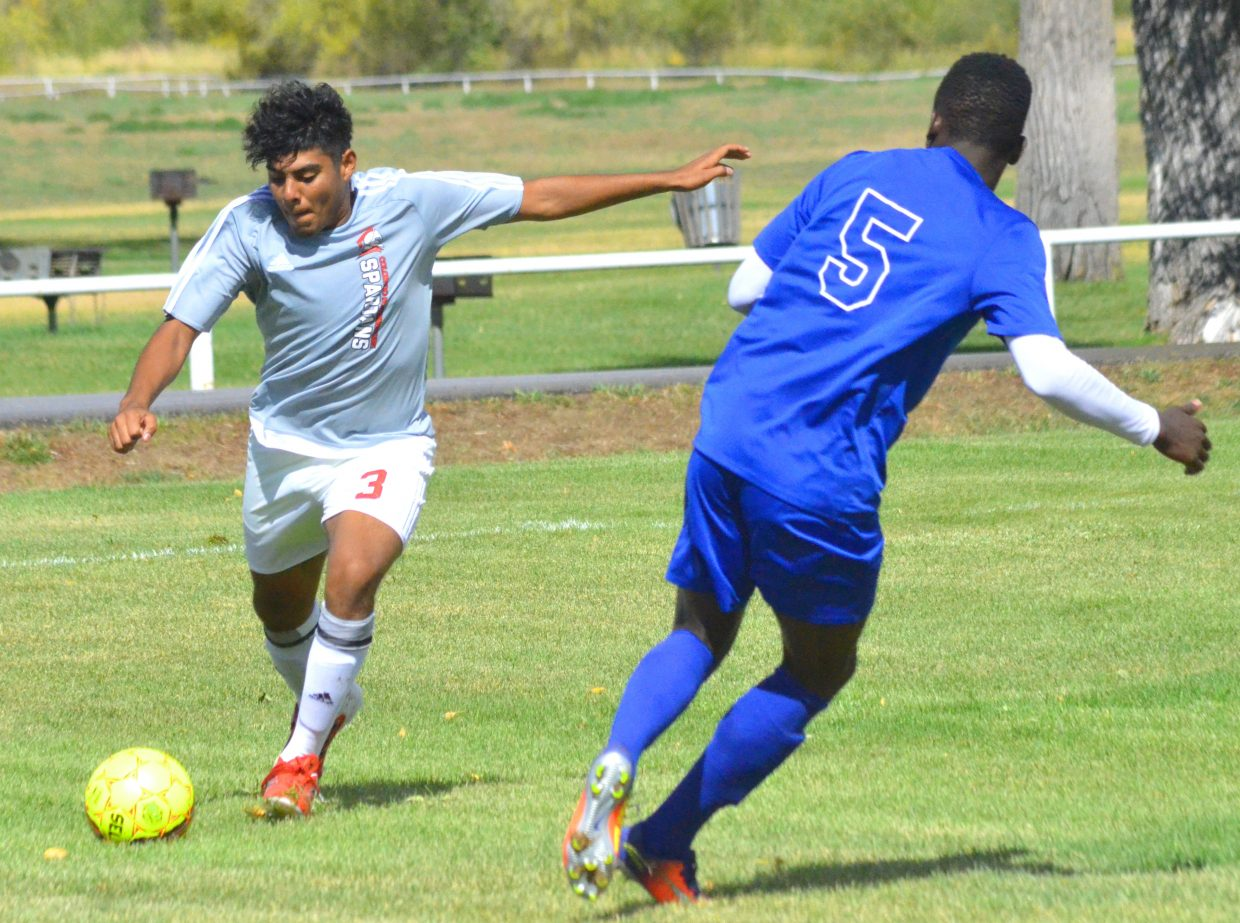 Colorado Northwestern Community College men's soccer's Jesus Hernandez looks to get the ball out of Spartan territory. CNCC men most recently fell 5-2 and 10-2 in home games against College of Southern Nevada.