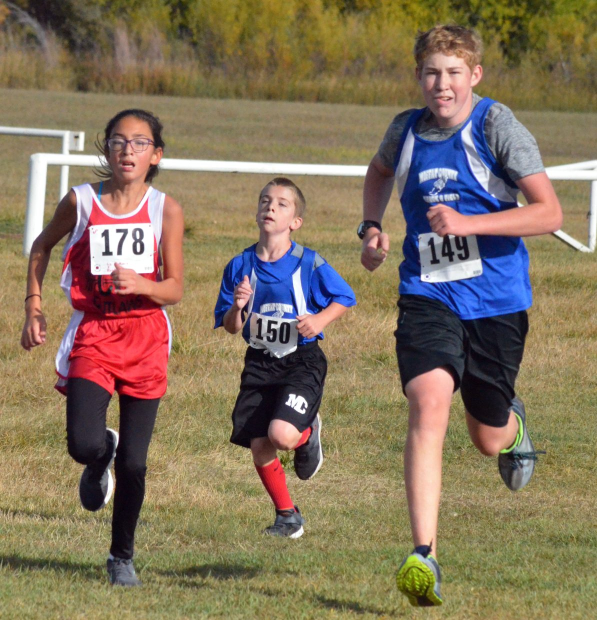 Craig Middle School cross country runners have the end in sight during the Bulldog Invitational at Loudy-Simpson Park.