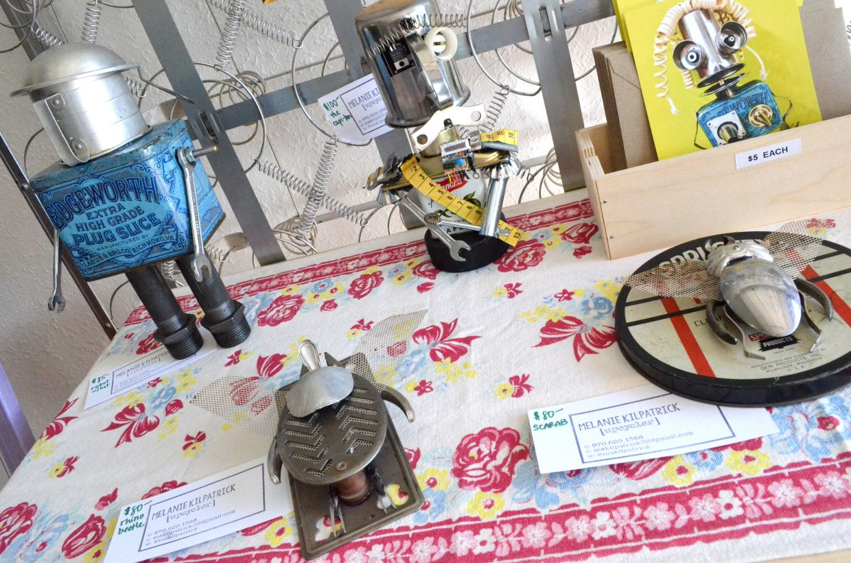 Craig artist Melanie Kilpatrick's up-cycled projects show various metal objects repurposed and crafted into creative shapes.