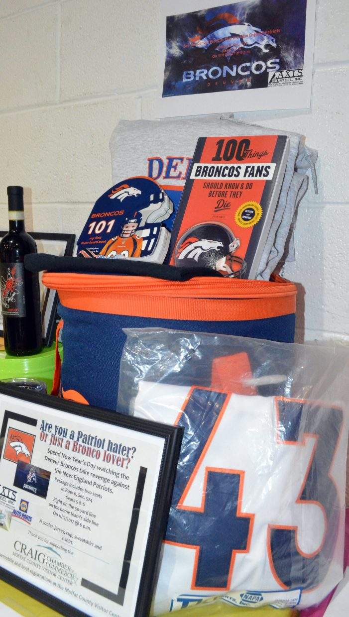 A Denver Broncos package is up for bids during Crabfest 2017.