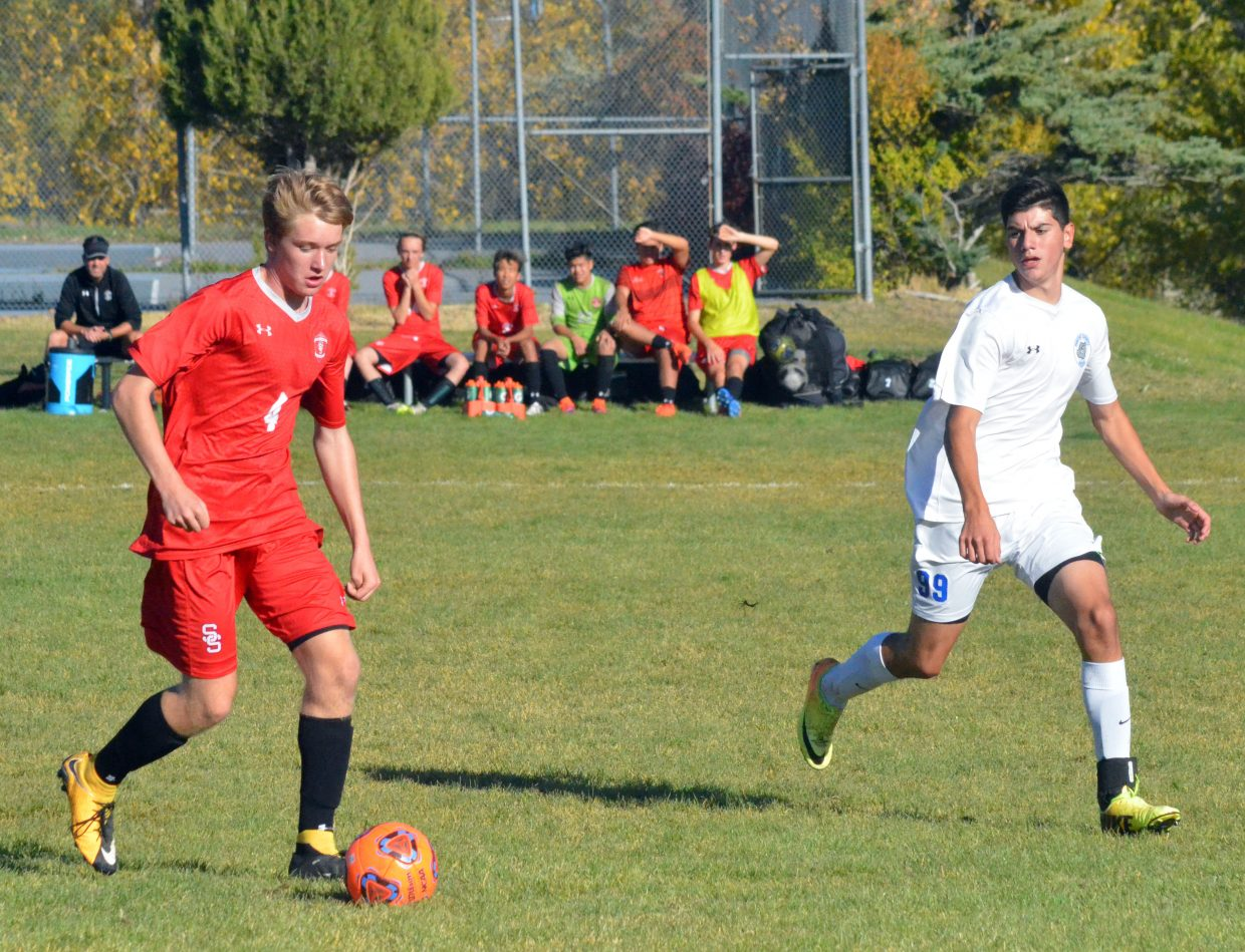 Moffat County High School senior Luis Tarango moves in for the attack against Steamboat Springs.