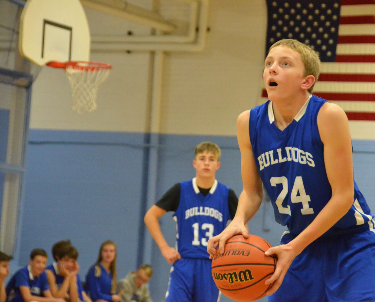 Craig Middle School's Logan Hafey readies for a free throw during Saturday's boys basketball tournament.
