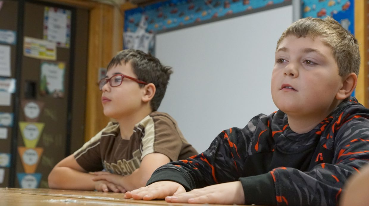 Jacob Beason, left and Michael Thompson, right will use the lessons learned from Craig's Mayor to run their own mock town in Bobbie McAlexander's third-grade class at East Elementary School.