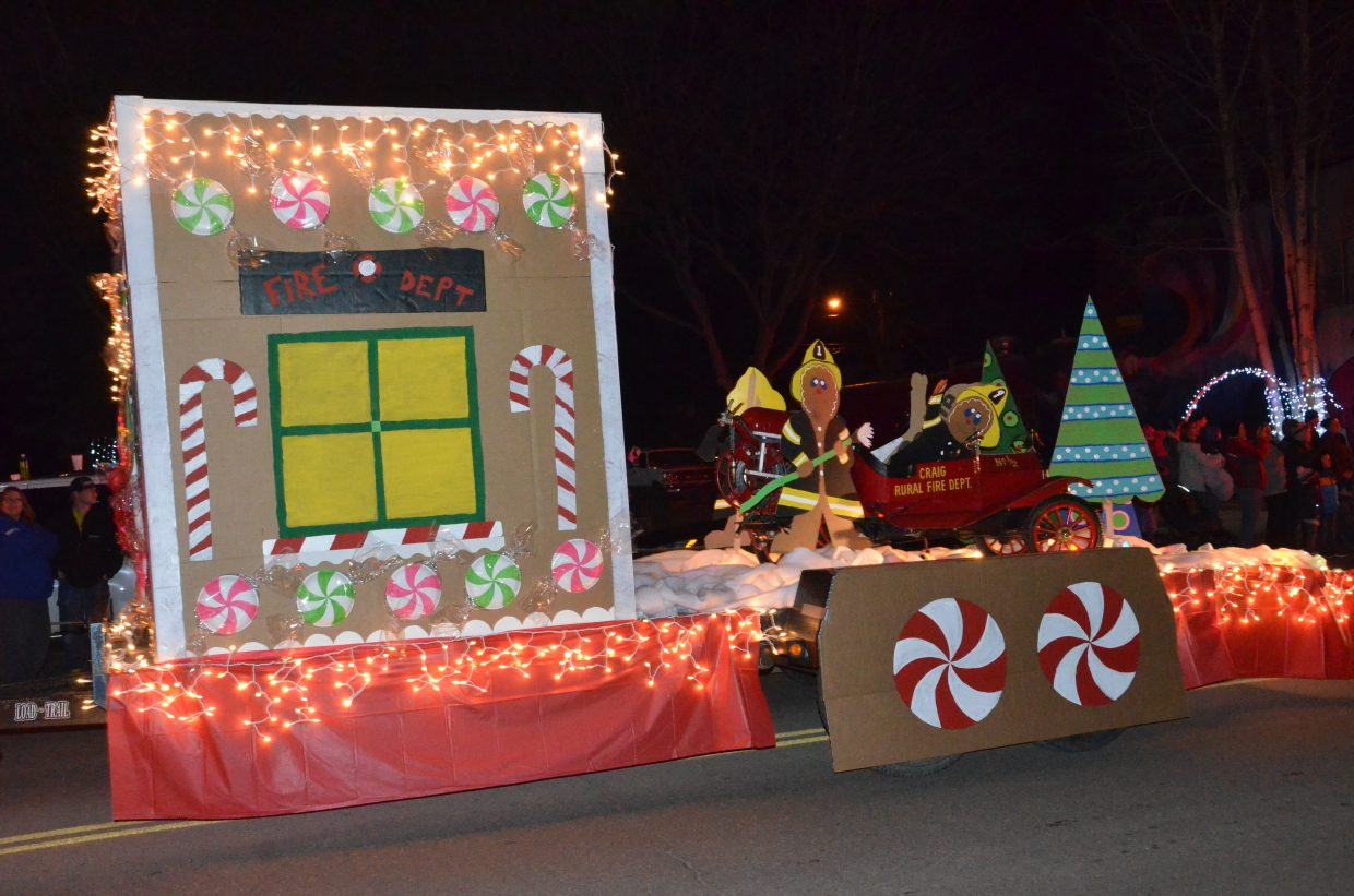 Craig Fire/Rescue won Best Float for their entry in the Parade of Lights, which included gingerbread firefighters.