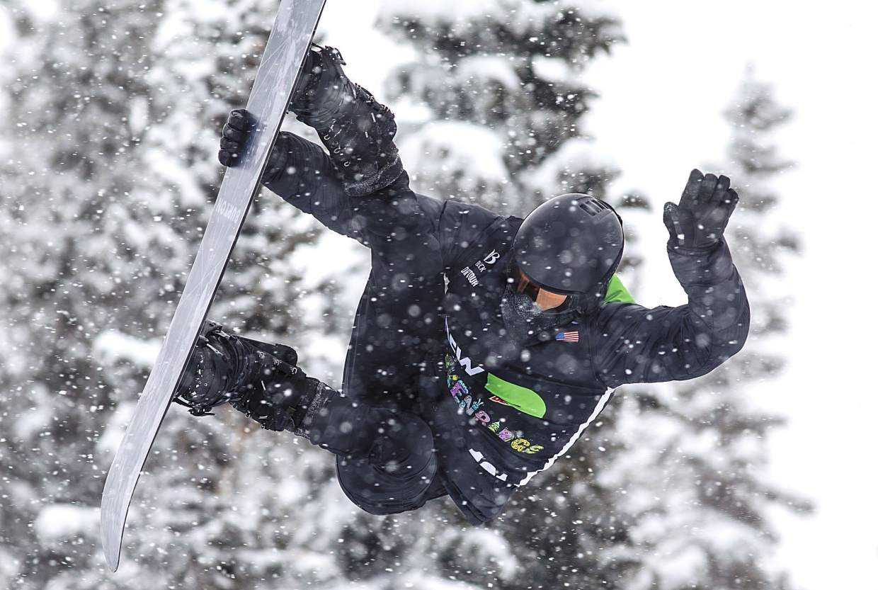 Shaun White of the United States competes in the snowboard superpipe qualifiers during the Dew Tour event on Thursday, Dec. 14 at Breckenridge Ski Resort. A week after reaching the podium at the snowboard superpipe Olympic qualifier at Copper Mountain, White did not qualify for Dew Tour superpipe finals due to a high score of 45.00.