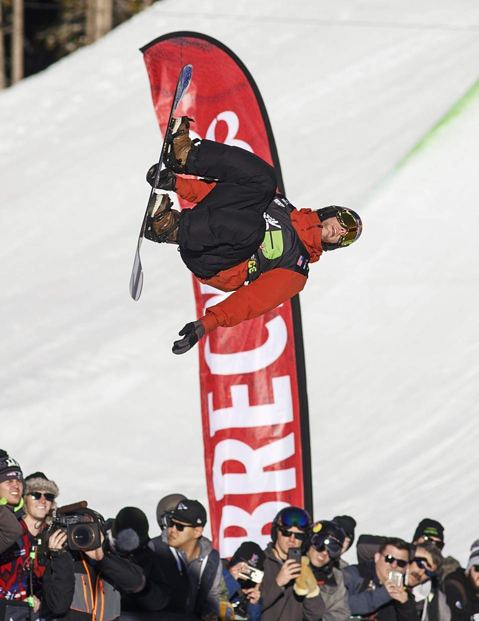 Ben Ferguson of United States competes in the superpipe finals during the Dew Tour event Friday, Dec. 15, at Breckenridge Ski Resort.