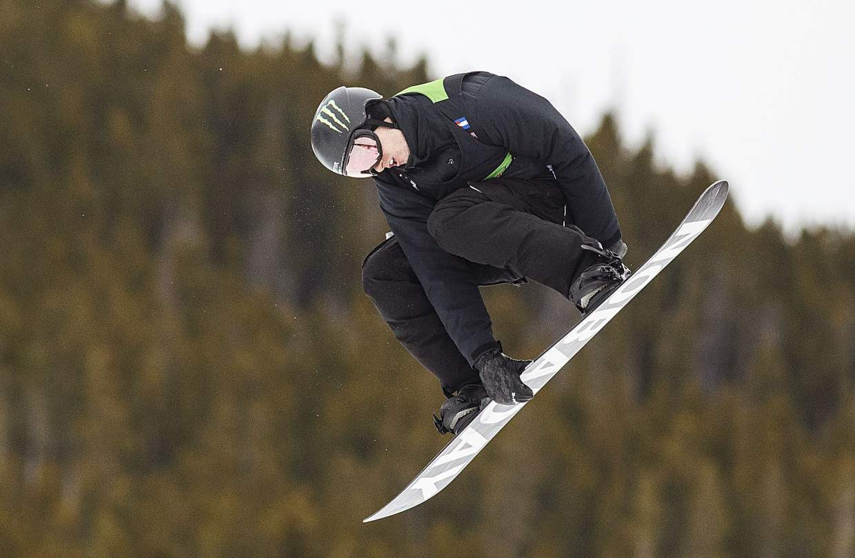 Max Parrot of Canada competes in the slopestyle finals during the Dew Tour event Saturday, Dec. 16, at Breckenridge Ski Resort. Parrot took home first with a high score of 97.