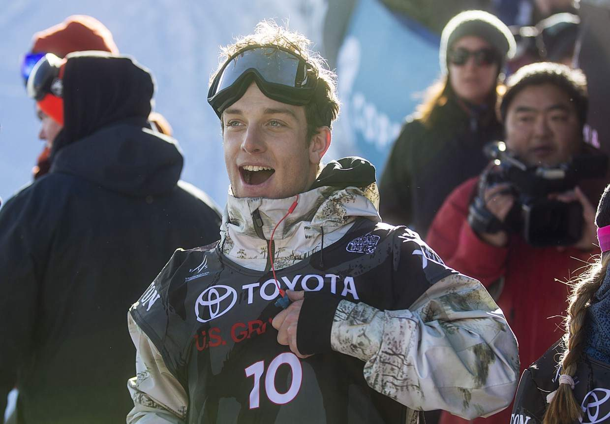 Ben Ferguson of United States following the halfpipe finals during the U.S. Grand Prix event Saturday, Dec. 9, at Copper Mountain. Ferguson took home second with a high score of 89.75.