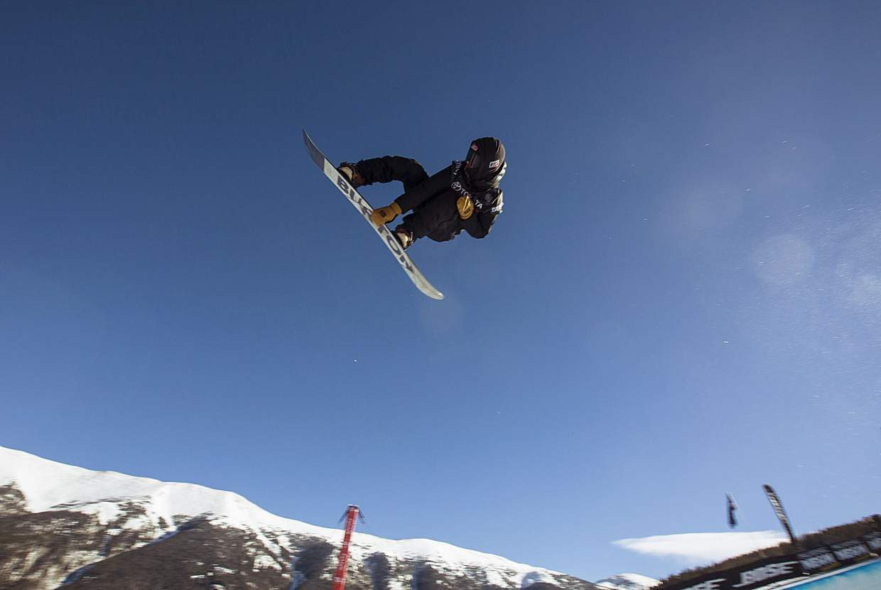 A snowboarder competes in the halfpipe finals during the U.S. Grand Prix event Saturday, Dec. 9, at Copper Mountain. Hirano took home first with a high score of 95.25.