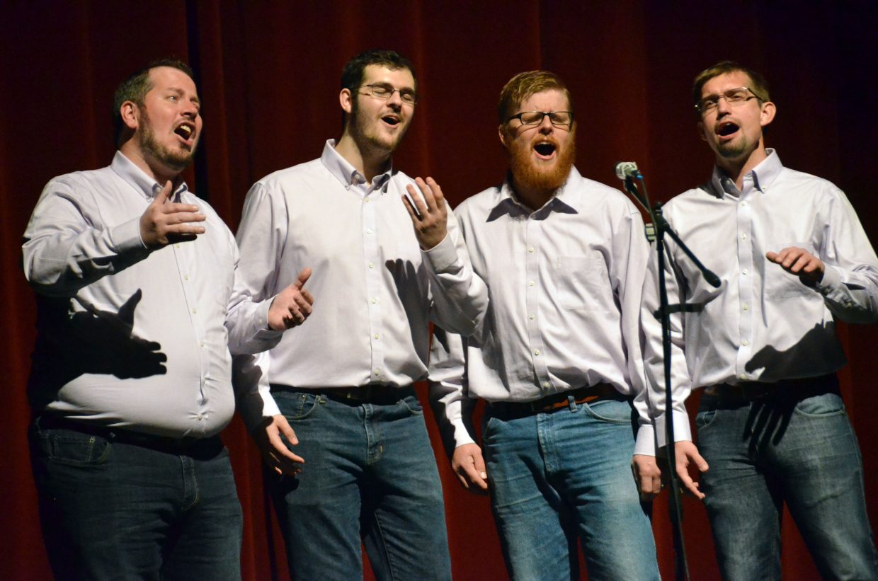 The members of Second Wind Quartet put their all into an a cappella rendition of