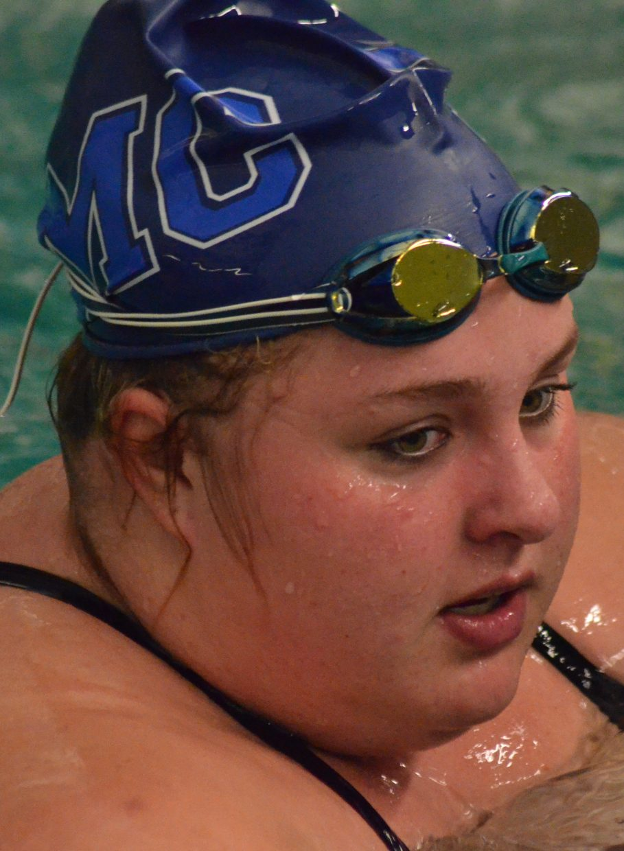 Moffat County High School's Sammi Beaver catches her breath following the 200-meter individual medley during the Moffat County Meet.