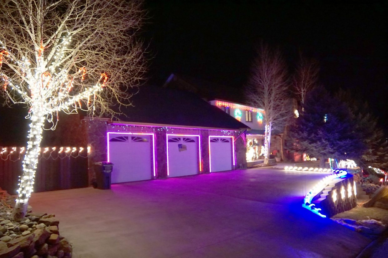The display at 906 Ledford St. wraps around the Elsbree & Nichols residence.