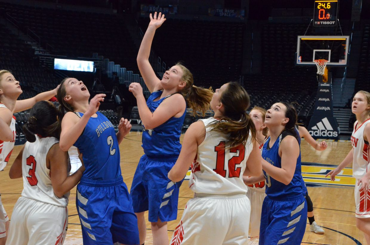 Moffat County High School's Brittnee Meats gets off one last shot against Aspen.