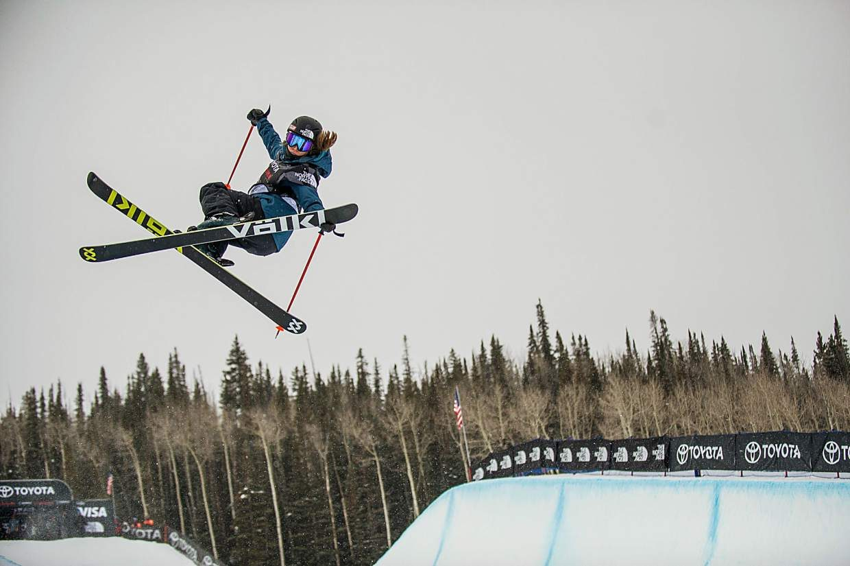 USA competitor Maddie Bowman does a grab during her second run of the women's superpipe ski qualifiers for the U.S. Grand Prix in Snowmass on Wednesday. Bowman ranked second overall in qualifiers.