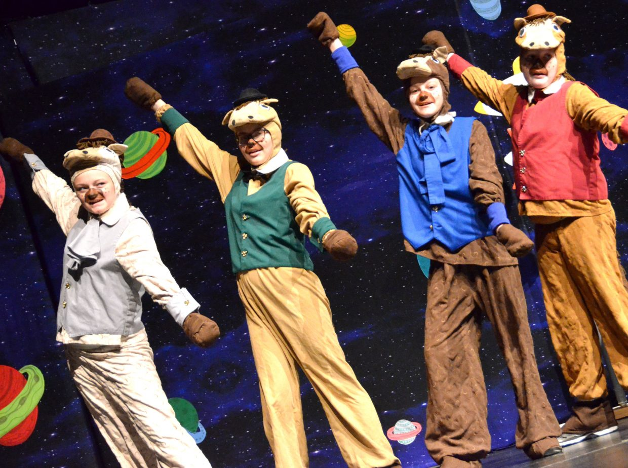 The Houyhnhnm horses finish a musical number with flair in Missoula Children's Theatre's