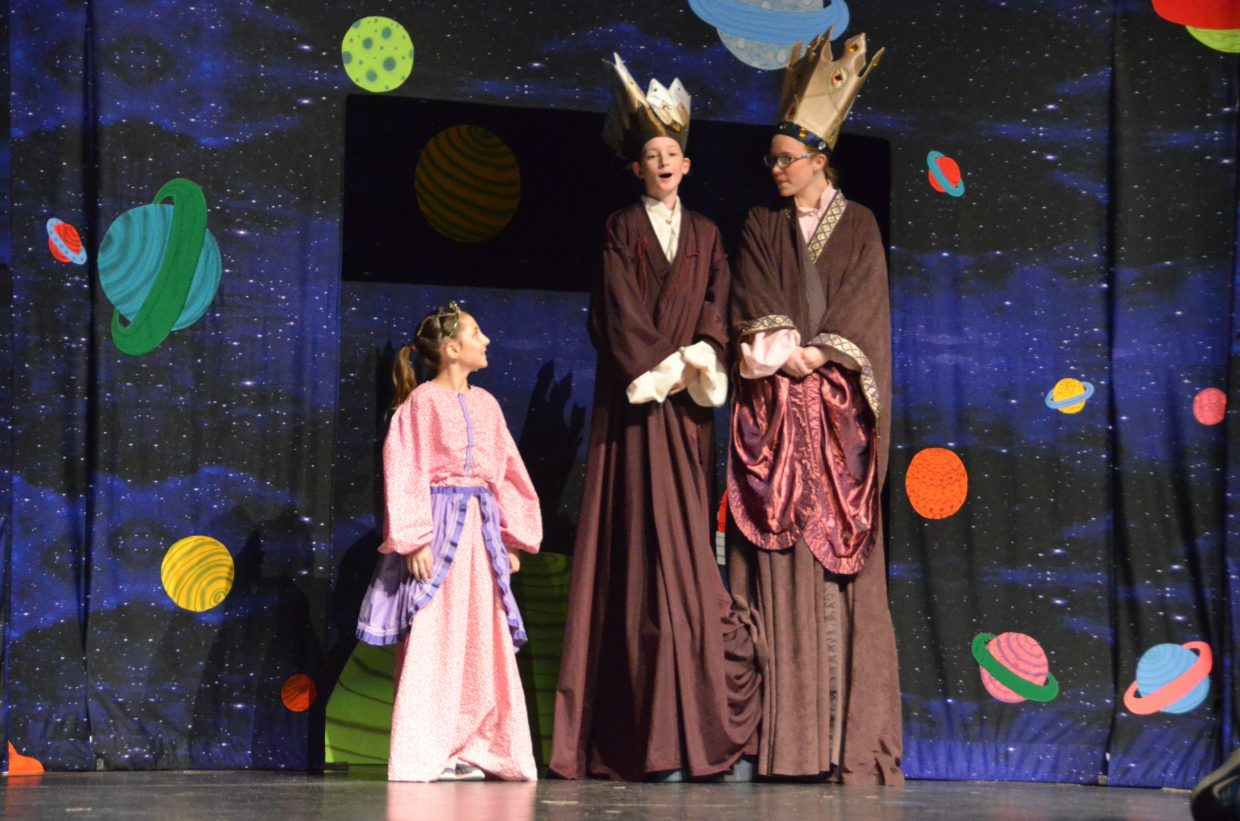 From left, the giant princess, king and queen of Brobdingnag (Sofia Vanzo, Tony Broyles, Jessica Womble) search for their subjects in Missoula Children's Theatre's