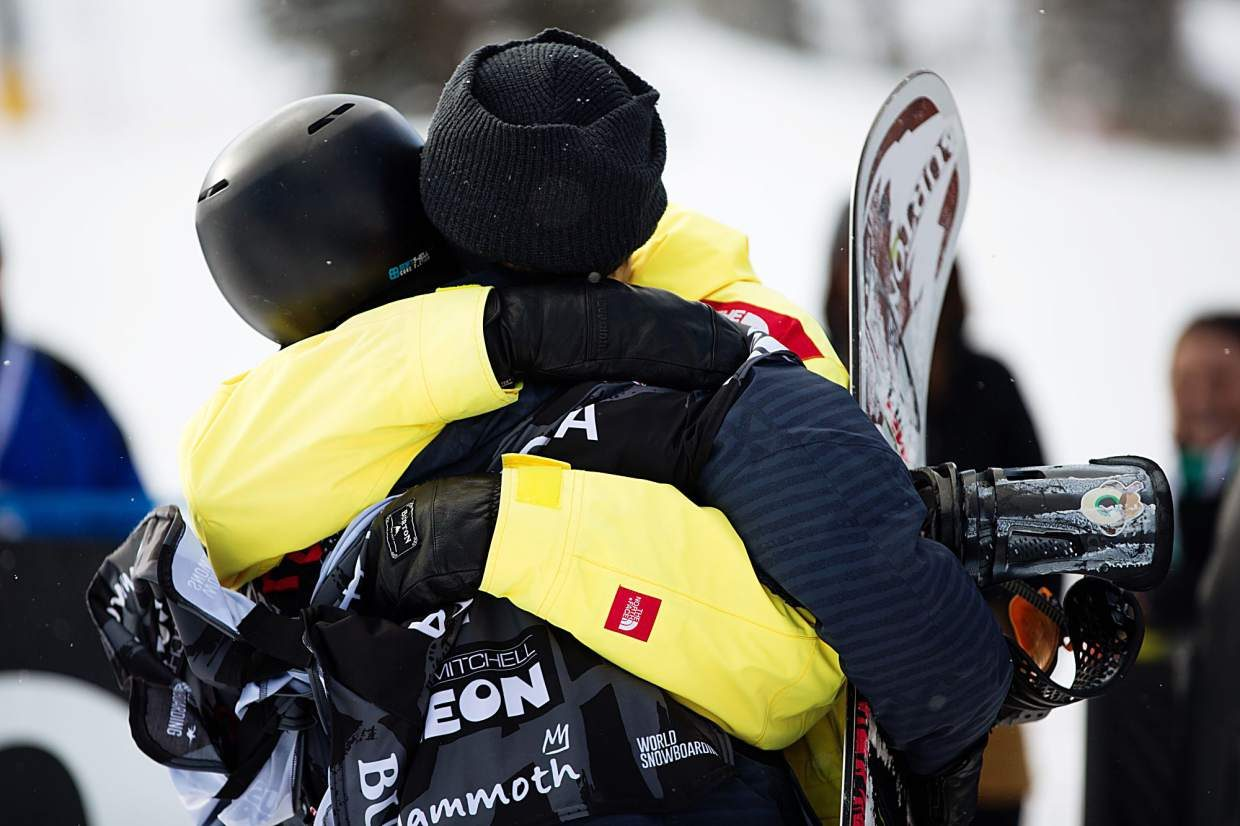 Kyle Mack and Red Gerard hug after the Silverthorne snowboarding duo took first and second at Saturday's Toyota U.S. Grand Prix at Mammoth Mountain. Mack clinched his spot on the U.S. snowboard slopestyle and big air team for next month's Winter Olympics in Pyeongchang, South Korea at the event while Gerard and a third Silverthorne snowboarder, Chris Corning, will join him as the country's top two qualifiers.