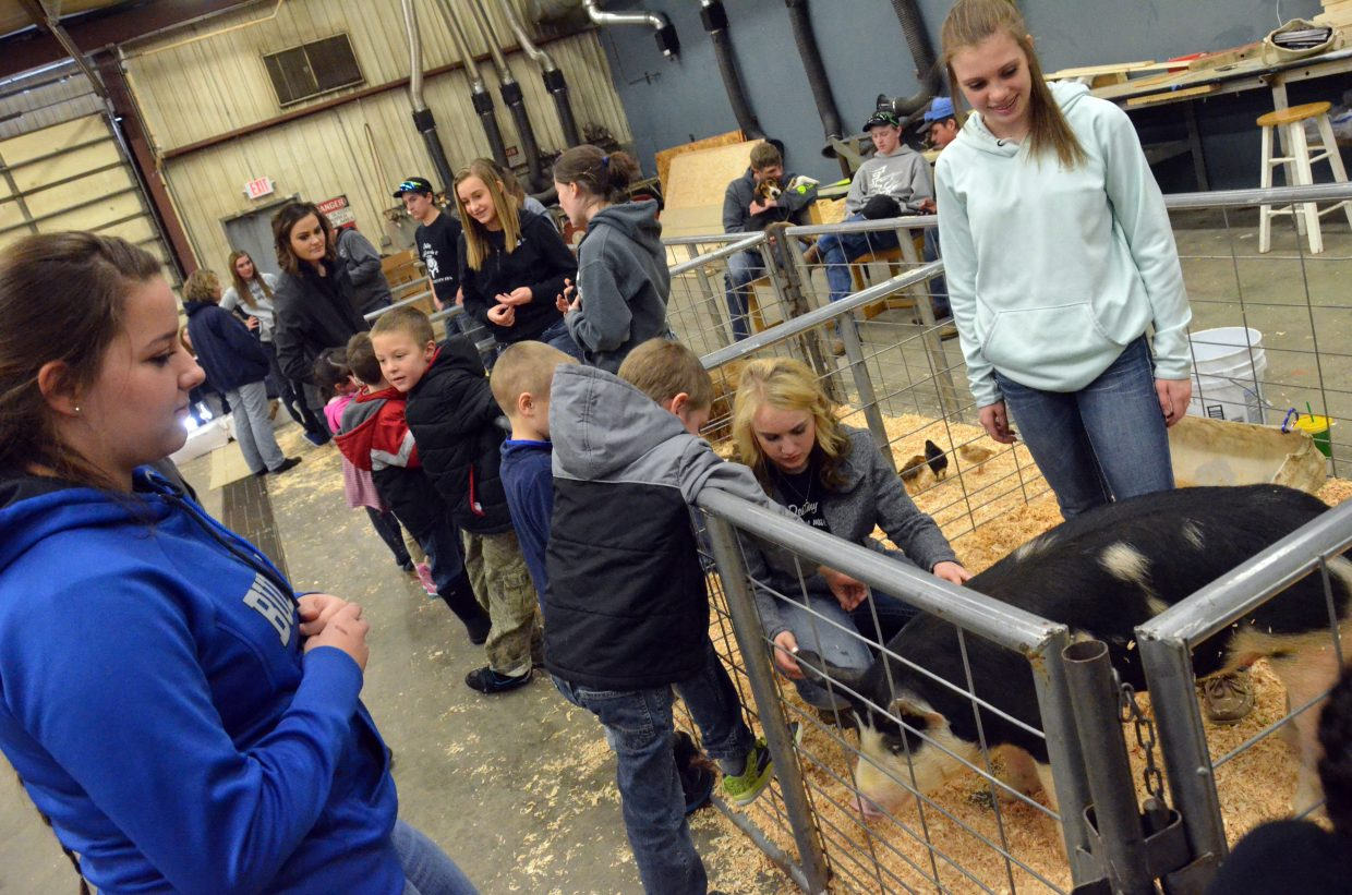 Kindergartners and Moffat County High School students bonded during Barnyard Day hosted by MCHS Future Farmers of America.
