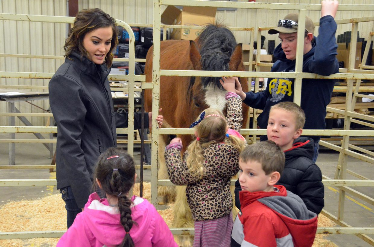 Sandrock Elementary School kindergartners view a horse during Barnyard Day hosted by Moffat County High School Future Farmers of America.