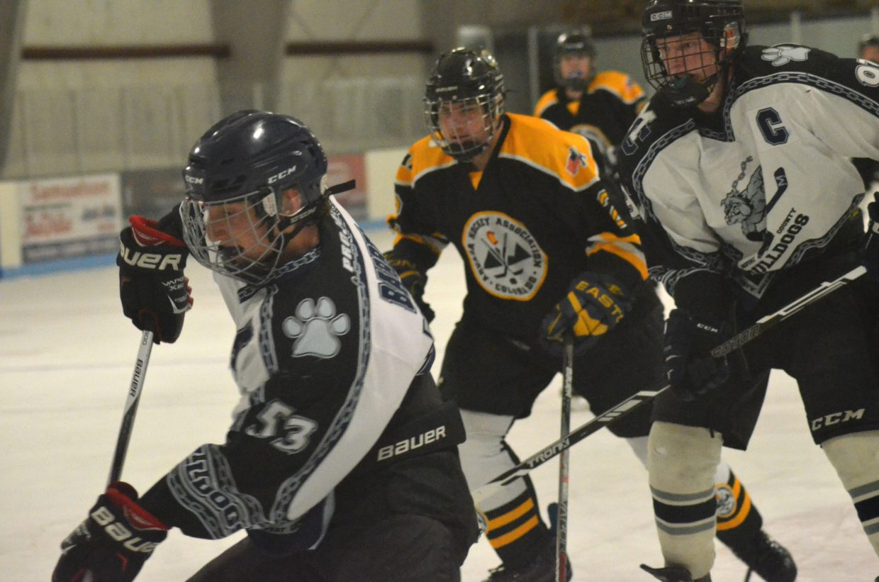 Moffat County Bulldogs hockey players AJ Barber, left, and Wyatt Boatright attack the Arvada goal. The 18U Midget team took two losses to Arvada and a win against Fraser.