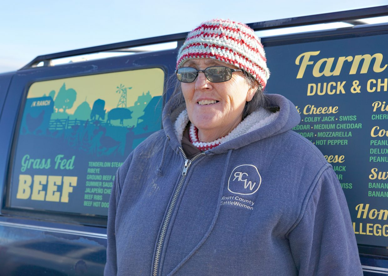 Maybell Egg Lady Kris Brannan stands beside the distinctive delivery van she uses to deliver farm-fresh food to over 300 customers in the Yampa Valley.