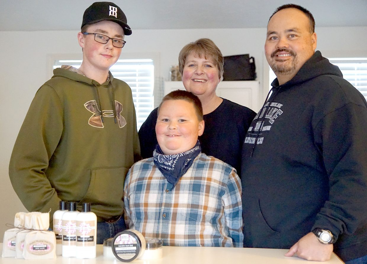 Winters' Blessings Soap Company is a family owned and operated agricultural business producing artisan products made from milk produced by goats raised in Moffat County. Pictured, from left, Joey, Chrissy, Zach and Doug Winters.