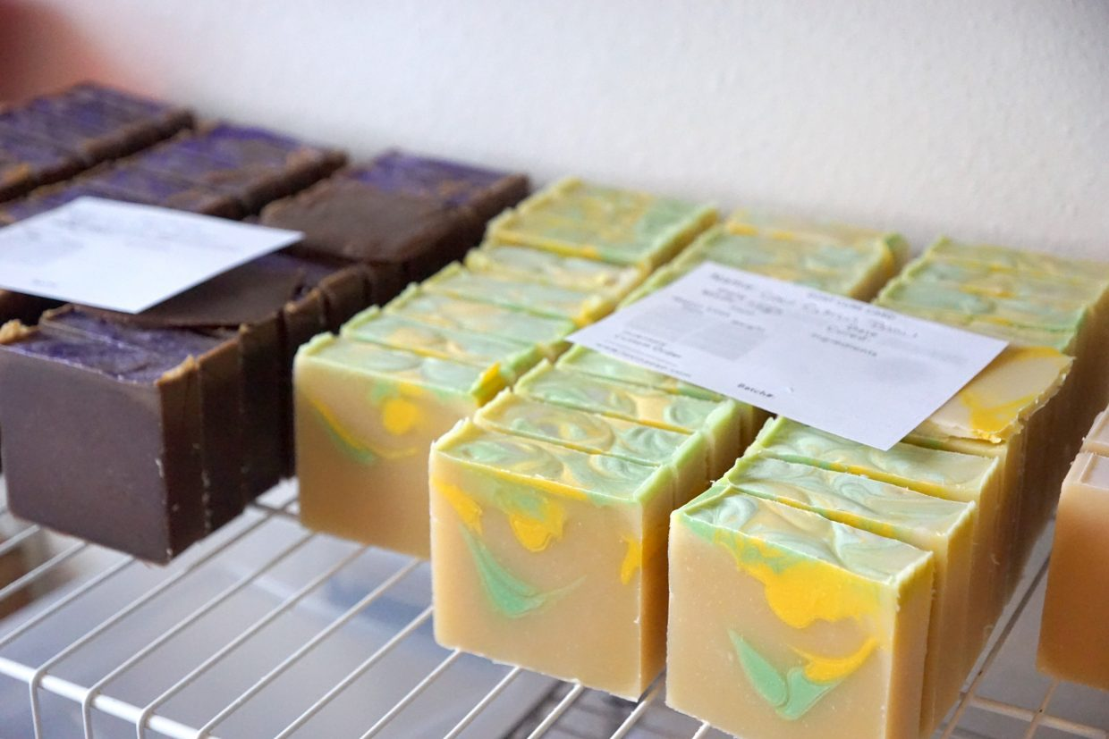 Goat milk soap is left to cure then packaged into hand-stitched bags before being sold online, at farmers markets and by retailers in the Yampa Valley.