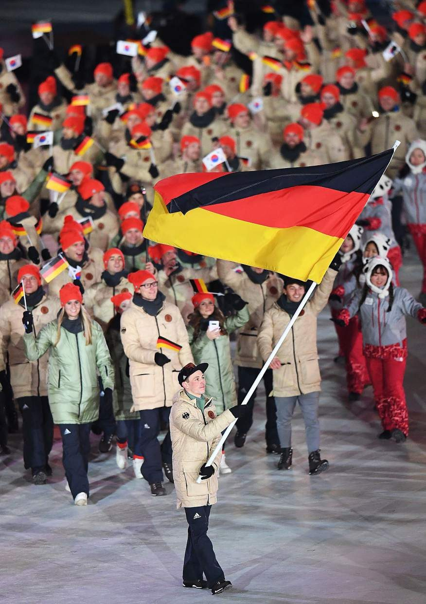 The German contingent enters Pyeongchang Olympic Stadium during the 2018 Winter Olympics Opening Ceremonies.