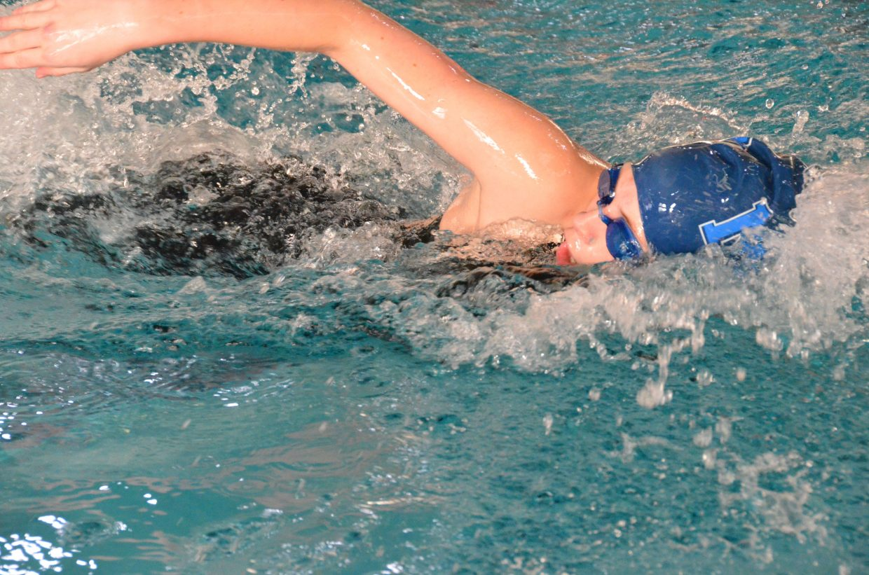 Moffat County High School's Kelsey McDiffett powers through the 200-yard freestyle relay Saturday at the Southwestern Conference League Championships.