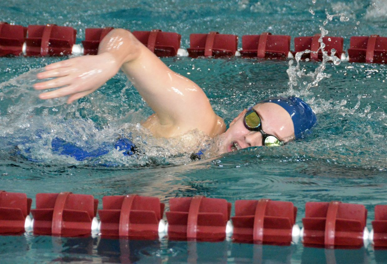 Moffat County High School swimmer Alexa Neton competes in the 200-yard freestyle race Saturday at the Southwestern Conference League Championships.