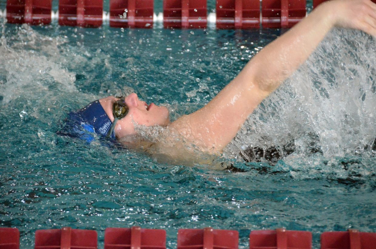 Moffat County High School's Katelynn Turner swims the backstroke portion of the 200-yard medley relay  Saturday at the Southwestern Conference League Championships.