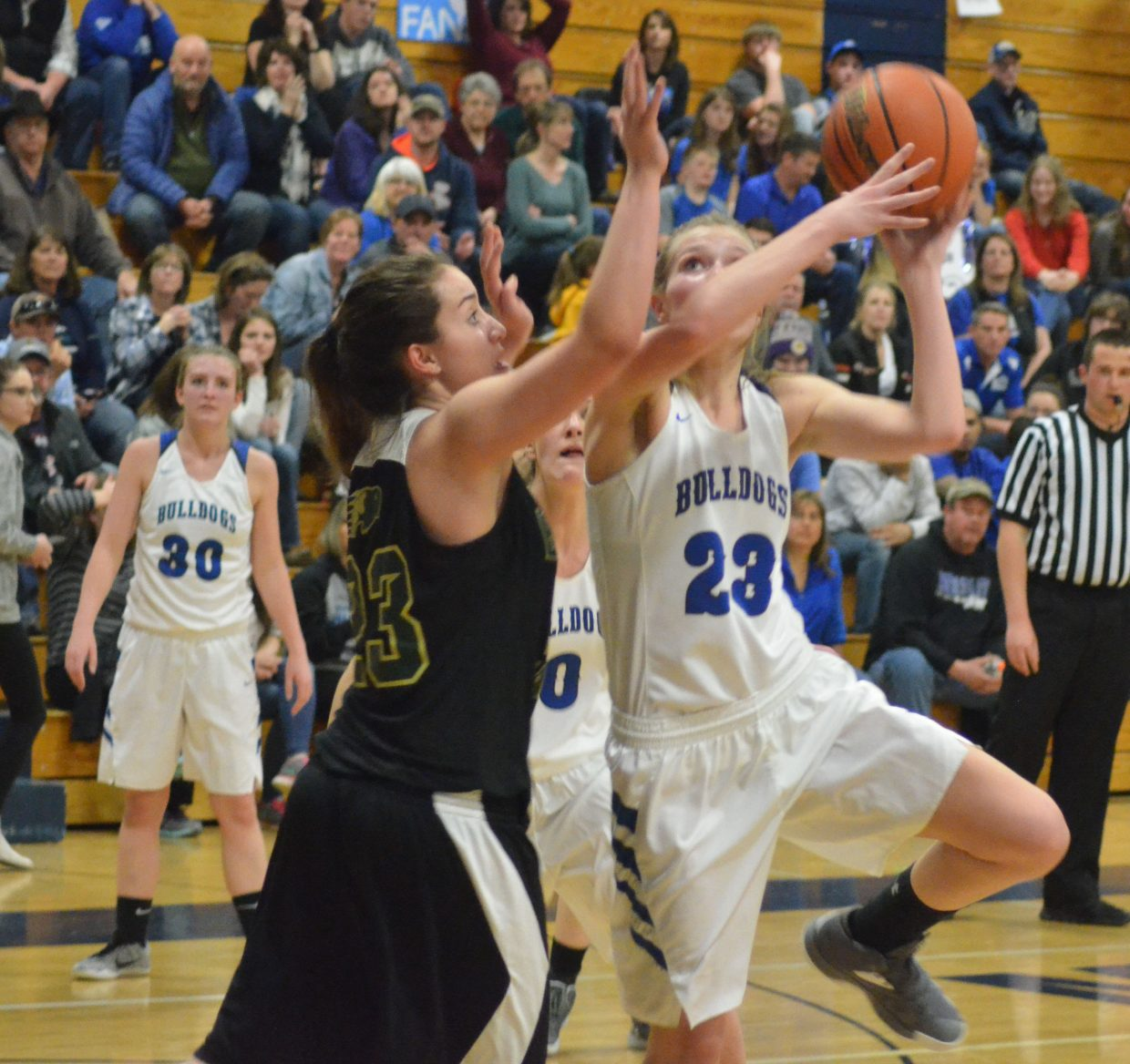 Moffat County High School's Jaci McDiffett angles for a shot against Bishop Machebeuf.
