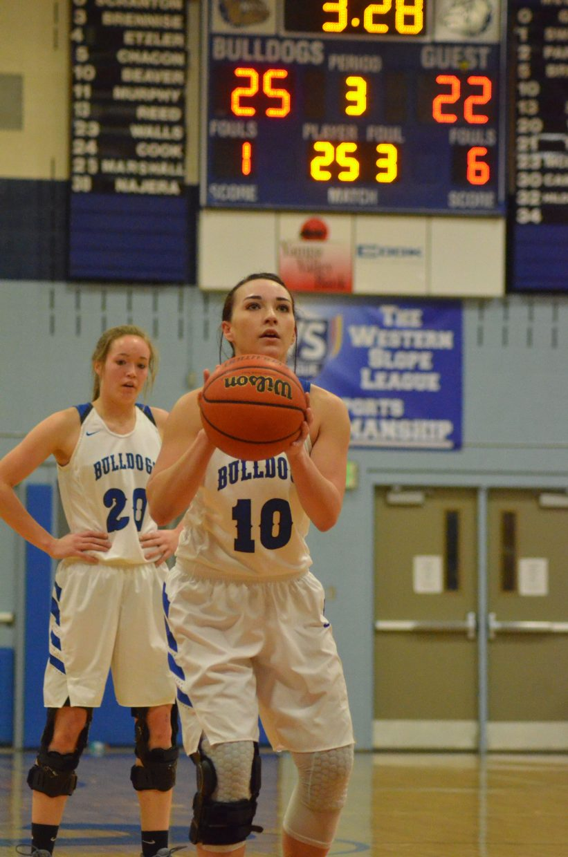 Moffat County High School's Quinn Pinnt readies for a free throw as Lady Bulldogs hold a small lead against Lutheran.